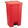 Rubbermaid Commercial Indoor Utility Step-On Waste Container, Rectangular, Plastic, 23gal, Red