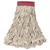 Rubbermaid Commercial Swinger Loop Wet Mop Head, Large, Cotton/Synthetic, White, 6/Carton