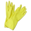 Boardwalk Flock-Lined Latex Cleaning Gloves, Medium, Yellow, 12 Pairs