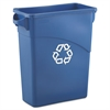 Rubbermaid Commercial Slim Jim Recycling W/Handles, Rectangular, Plastic, 15.875gal, Blue
