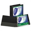"Samsill Clean Touch Locking Round Ring View Binder, Antimicrobial, 3"" Cap, Black"