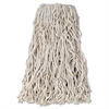 "Economy Cut-End Cotton Wet Mop Head, 24oz, 1"" Band, White, 12/Carton"