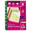 Avery Small Binder Pockets, Standard, 7-Hole Punched, Assorted, 5 1/2 x 9 1/4, 5/Pack