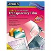Apollo Quick Dry Universal Inkjet Printer Transparency Film, 50 Sheets/Box