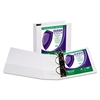 "Clean Touch Locking D-Ring View Binder, Antimicrobial, 4"" Cap, White"