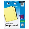 Preprinted Black Leather Tab Dividers w/Gold Reinforced Edge, 25-Tab, Ltr