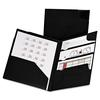 Divide It Up Four-Pocket Poly Folder, 11 x 8-1/2, Black