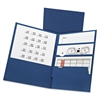 Divide It Up Four-Pocket Paper Folders, 11 x 8-1/2, Navy, 20/Box
