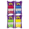 File Tabs, 1 x 1 1/2, Aqua/Lime/Red/Yellow, 100/Pack