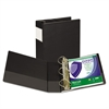 "Clean Touch Locking D-Ring Reference Binder, Antimicrobial, 4"" Cap, Black"