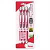 Pentel EnerGel RTX Retractable Liquid Gel Pen, .7mm, Pink Barrel, Black Ink. 3/Pack