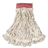 "Web Foot Wet Mop, Cotton/Synthetic, White, Large, 5"" Red Headband, 6/Carton"