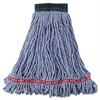 Rubbermaid Commercial Web Foot Wet Mop Head, Shrinkless, Cotton/Synthetic, Blue, Medium, 6/Carton