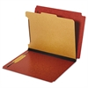 Dual Tab Classification Folder, 2 Sections, Top/End Tab, Letter, Red, 10/BX