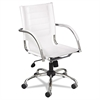Safco Flaunt Series Mid-Back Manager's Chair, White Leather/Chrome