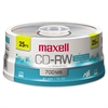 Maxell CD-RW Discs, 700MB/80min, 4x, Spindle, Silver, 25/Pack