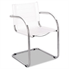 Flaunt Series Guest Chair, White Leather/Chrome
