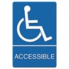 Sign ADA Sign Wheelchair Accessible, Tactile Symbol/Braille, Plastic, 6x9, Blue/White