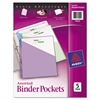 Binder Pockets, 3-Hole Punched, 9 1/4 x 11, Assorted Colors, 5/Pack