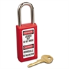"Master Lock Lightweight Zenex Safety Lockout Padlock, 1 1/2"" Wide, Red, 2 Keys, 6/Box"