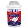 SCRUBS do-it ALL Germicidal Cleaner Wipes, 6 x 10.5, Lemon-Lime, 90/Canister