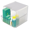 deflecto Desk Cube with Drawer, Clear, 7-1/8 x 6 x 6