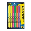Pen-Style Highlighter, Chisel, Assorted Fluorescent Colors, 6/Set