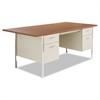 Alera Double Pedestal Steel Desk, Metal Desk, 72w x 36d x 29-1/2h, Cherry/Putty