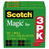 "Scotch Magic Tape Refill, 1/2"" x 1296"", 1"" Core, Clear, 3/Pack"