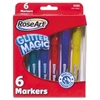 RoseArt Glitter Magic Markers, Washable, Assorted Colors, 6/Set