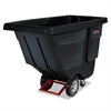 Rotomolded Tilt Truck, Rectangular, Plastic, 850lb Cap, Black