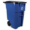 Rubbermaid Commercial Brute Recycling Rollout Container, Square, 50gal, Blue