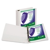 "Samsill Clean Touch Locking Round Ring View Binder, Antimicrobial, 2"" Cap, White"