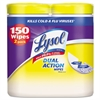LYSOL Brand Disinfecting Wipes, Dual Action, 7 x 8, Citrus, 75/Canister, 2/Pack