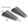 Master Caster Big Foot Doorstop, No Slip Rubber Wedge, 2 1/4w x 4 3/4d x 1 1/4h, Gray, 2/Pack