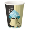 Duo Shield Hot Insulated 12oz Paper Cups, Tuscan, Chocolate/Blue/Beige, 40/Pk