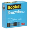 "Scotch Removable Tape, 1/2"" x 1296"", 1"" Core, Transparent"