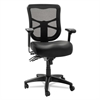 Alera Elusion Series Mesh Mid-Back Multifunction Chair, Black Leather