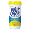 Wet Ones Antibacterial Moist Towelettes, 5 x 7 1/2, White, 40/Canister, 12/Carton