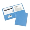 Two-Pocket Folder, 40-Sheet Capacity, Light Blue, 25/Box