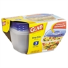 Glad GladWare Deep Dish Food Storage Containers, 64 oz, 3/Pk, 6 Pk/Ctn