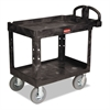 Rubbermaid Commercial Heavy-Duty Utility Cart, Two-Shelf, 25-7/8w x 45-1/4d x 37-1/8h, Black