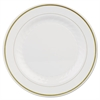 Masterpiece Plastic Plates, 10 1/4in, Ivory w/Gold Accents, Round