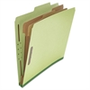 Pressboard Classification Folder, Letter, Six-Section, Green, 10/Box