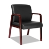 Reception Lounge Series Guest Chair, Cherry/Black Leather