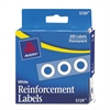 "Avery Dispenser Pack Hole Reinforcements, 1/4"" Dia, White, 200/Pack"