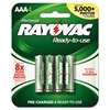 Rayovac Recharge Plus NiMH Batteries, AAA, 4/Pack