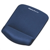 PlushTouch Mouse Pad with Wrist Rest, Foam, Blue, 7 1/4 x 9-3/8
