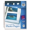 Photo Storage Pages for Four 4 x 6 Horizontal Photos, 3-Hole Punched, 10/Pack