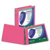 "Samsill Clean Touch Round Ring View Binder, Antimicrobial, 1"", Berry"
